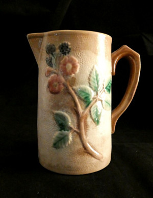 1030350  Antique Majolica Blueberry Floral Pitcher - Product Image