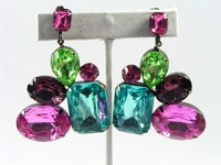 195133   Large Prong Set Rhinestone Ear Clips in Japanned Metal - Product Image