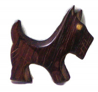 195186  Carved Wooden Scottie Pin - Product Image
