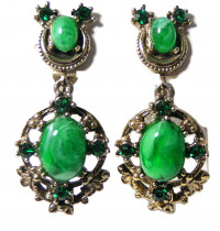 195128  Faceted & Cabochon Emerald Ear Screws - Product Image