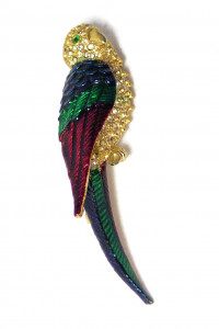 195218  Rhinestone Parrot Brooch - Product Image