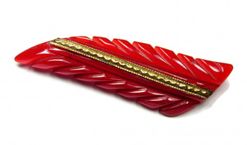195010  Carved Red Bakelite Brooch - Product Image
