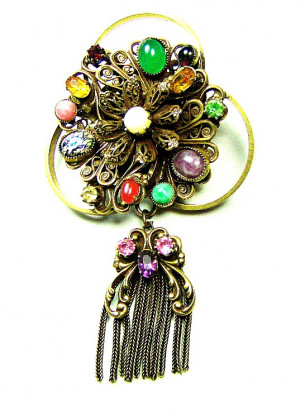 195011  Multi-Stone Brooch With Fringe - Product Image
