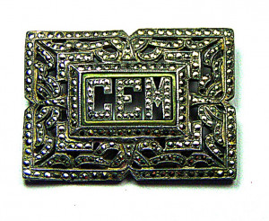 195026  Pot Metal & Marcasite Sparkling Initial Brooch - Product Image