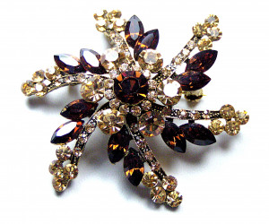 195028  Yellow & Citrine Rhinestone Pin/Pendant  - Product Image