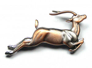 195035  Leaping Stag Brooch - Product Image