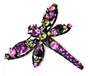 195051  Rhinestone Dragonfly in Japanned Metal - Product Image