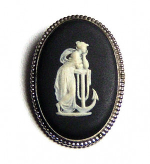 "195052  Wedgwood ""Hope & The Anchor"" Sterling Cameo in Original Box - Product Image"