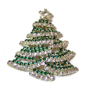 195054  Green Rhinestone Swagged Christmas Tree - Product Image