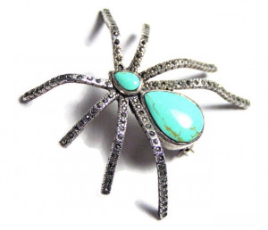 195059  Sterling Spider w/Marcasite & Faux Turquoise - Product Image
