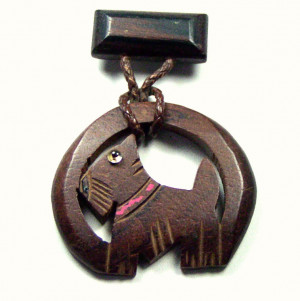 195064  Suspended Carved Wooden Scottie with Glass Eye - Product Image
