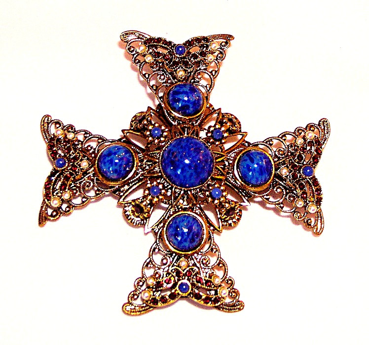 195066  W. Germany Jewelled Maltese Filigree Cross