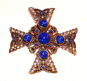 195066  W. Germany Jewelled Maltese Filigree Cross - Product Image