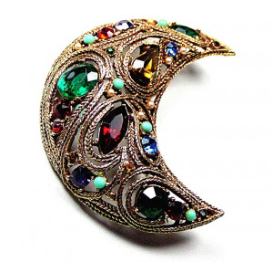 195067  Prestige Dimensional Jeweled Crescent Moon - Product Image