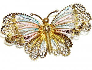 195087  Antique Filigree Sterling Butterfly with Enamel - Product Image