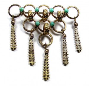 195094  Austrian Filigree Dangle w/Faux Turquoise Stones - Product Image