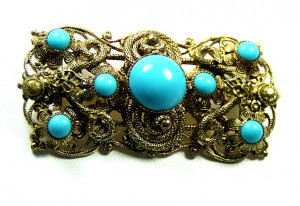 195095  Czechoslovakian Filigree w/Faux Turquoise - Product Image