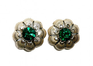 195102  Sea Shell Ear Clips with Green Rhinestone - Product Image