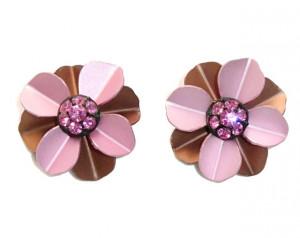 195103  Pink Aluminum & Rhinestone Ear Clips - Product Image