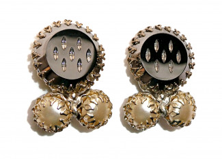 195105  Faceted Glass Mirror w/Prong Set Pearls Ear Clips - Product Image