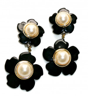 195107  High Polish Black Ear Clips - Product Image