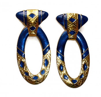 195110  Edgar Berebi Pierced Royal Blue Disco Earrings - Product Image