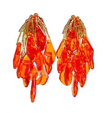 195111  Faceted Drops w/Beaded Fringe Ear Clips - Product Image