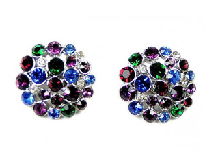 195121  Royal Colored Rhinestone Ear Clips - Product Image