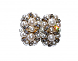 195134  Pearl & Rhinestone Ear Clips  - Product Image
