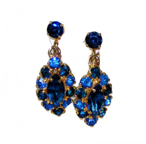 195143  Bergere Cobalt Blue Rhinestone Ear Clips - Product Image