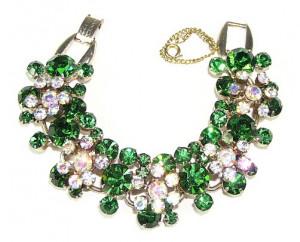 195154  Emerald Green Rhinestone Bracelet - Product Image