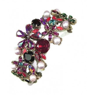 195155  Sorrelli Red Rhinestone & Pearl Adjustable Cuff - Product Image