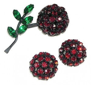 195156  Warner Red Rhinestone Cherry Brooch & Ear Clips in Japanned Metal - Product Image