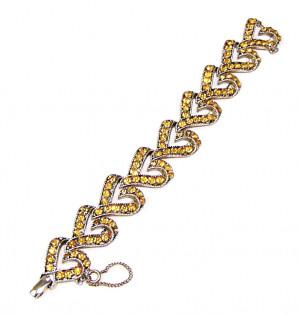 195160  Amber Rhinestone Heart Bracelet - Product Image