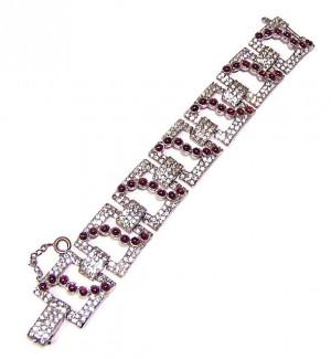 195161  Chunky Pave Rhinestone & Cabochon Bracelet - Product Image