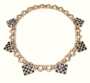 195163  Checkerboard Rhinestone Necklace - Product Image