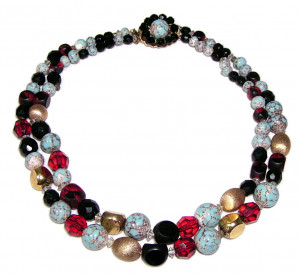 195164  Double Strand Crystal, Ceramic & Metal Bead Necklace - Product Image