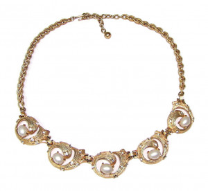 195166  Hattie Carnegie Rhinestone & Pearl Necklace - Product Image
