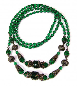 195176  Faceted Emerald Glass & Ornamental Metal Beads  - Product Image