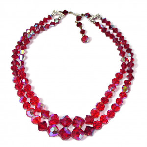 195185  Red Aurora Borealis Faceted Double Strand Necklace - Product Image