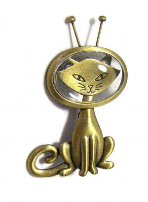195189  JJ Space Cat-det Bubble Brooch - Product Image