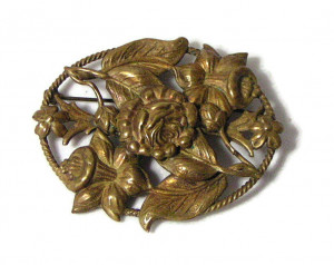 195195  Brass Repousse Brooch - Product Image
