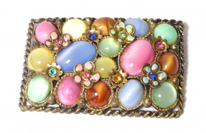 195205  Multi Colored Glass Cab & Rhinestone Brooch - Product Image