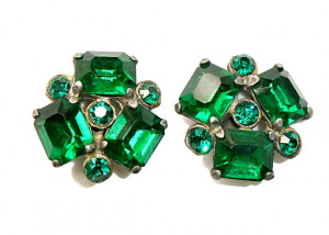 195208  Emerald Green Rhinestone Earrings in Pot Metal - Product Image