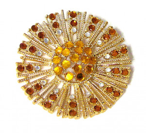 195212  Citrine Starburst Brooch - Product Image