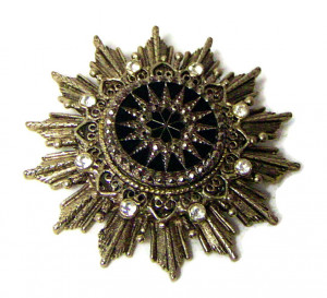 195213  Rhinestone & Molded Glass Marcasite Brooch - Product Image