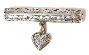 195219  Filigree Sterling Bar Pin with Heart Dangle - Product Image