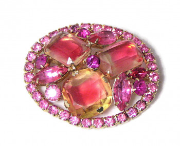 195230  Shades of Pink Rhinestone Brooch - Product Image