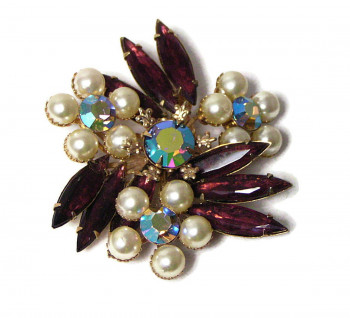 195232 Pearl, Purple & Aurora Borealis Rhinestone Spray - Product Image