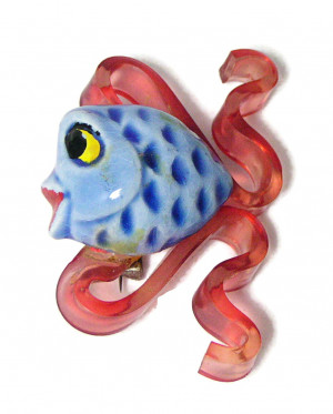 195237  Ceramic & Lucite Fish Pin - Product Image
